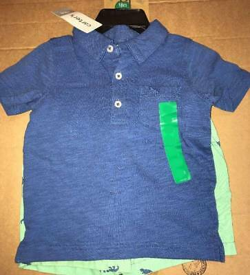 NWT Carters Boy 2 Piece Set Polo T-Shirt and Shorts Size 2T