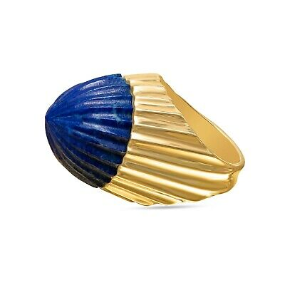 Estate Antique 18K Yellow Gold Hand Carved Lapis Lazuli Dome Cocktail Ring