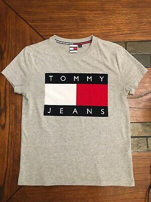 f06549ff Vintage 90s Tommy Hilfiger Jeans T Shirt Men Large Gray Big Flag Logo  Casual F3