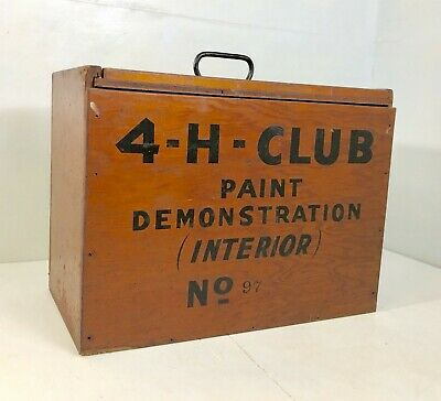 Vtg 4-H Club Wooden Tool Box Advertising home painting with paint brush