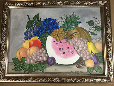 """Betty Berry Spatz 1986 """"Still Life With Fruits"""" Oil Painting - Signed/Framed"""