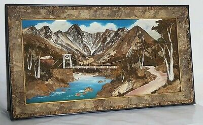 "VTG JAPANESE WOOD 3-D PICTURE BARK MOSS LANDSCAPE 23 3/4"" x 41 1/2"" Art"