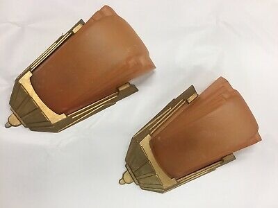 Original Art Deco Slip Shade Chandelier Wall Lights Matching Set Pair 2X