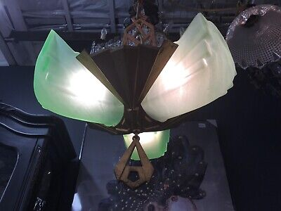 Original Art Deco Slip 3 Light Green Shade Chandelier Pendant Lights Light