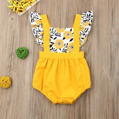 Newborn Girls Ruffle One-Piece Romper Bodysuit Jumpsuit Outfits Sunsuit