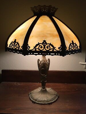 Awesome Antique Arts & Crafts Table Lamp Cream Beige Bent Slag Glass Shades