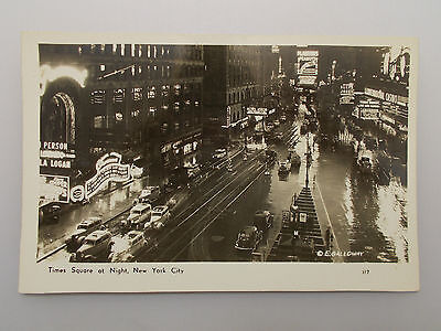 Vintage Postcard Times Square At Night, New York City Rppc Post Card 1940'S ?