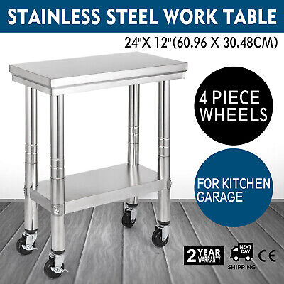Stainless Steel Work Table 4 Casters Work Bench Catering Tables Shelf 30X60CM