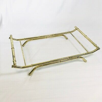 Brass Faux Bamboo Tray Buffet Platter Stand Centerpiece Stand MCM Mid Century