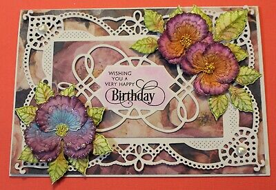 White Happy Birthday Handmade Card DIY Card Making Kit Cheery Pansy Flowers