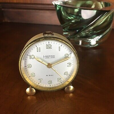 LOOPING Alarm 8-Day Ivory Gold double barrel round Clock Vintage Swiss Made ~EVC
