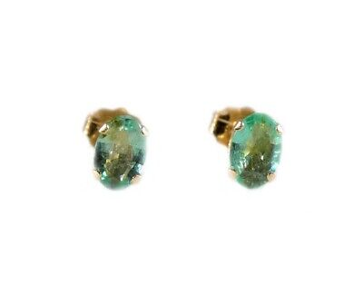 Antique 19thC Siberian Emerald Ancient Christian Sumerian Immortality Gem Studs