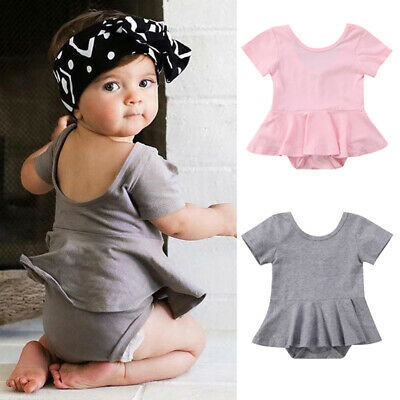 458ff1973 Infant Baby Girls Backless Romper Dress Skirts Top Outfits Jumpsuit Bodysuit