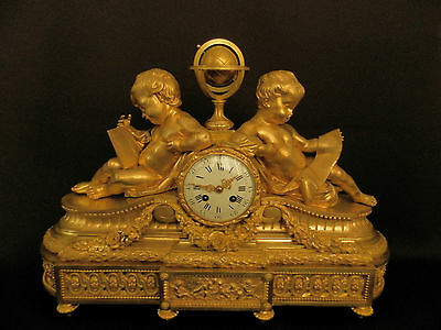Antique French Solid Bronze Neo Classical Figural mantel Clock ca 1880