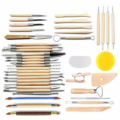 CestMall 42pcs Sculpting Tools Set, Pottery Tools with Wood Handle for Ceramic a