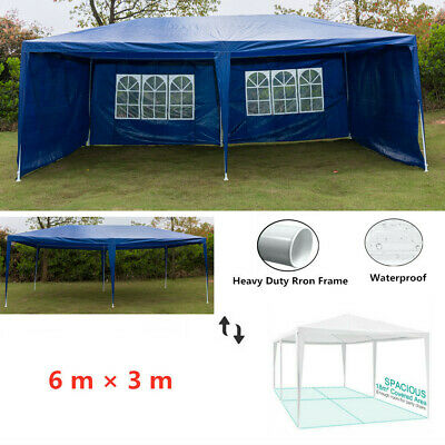 6M x 3M Party Tent Marquee Gazebo Outdoor TWO SUPPORT BEAMS Waterproof Blue