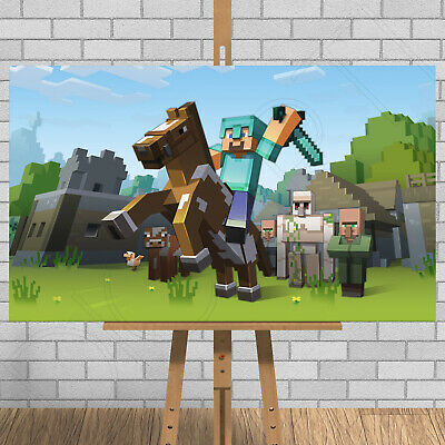 MINECRAFT Game Framed Canvas Print Picture Steve Creeper Horse Xbox One 1 PS4