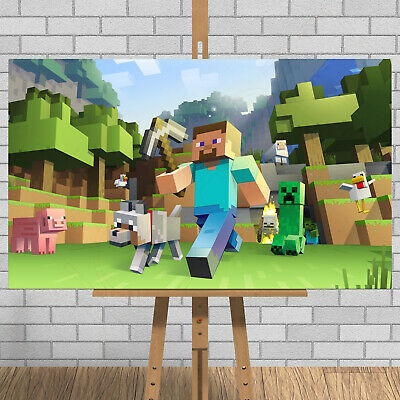 MINECRAFT Game Framed Canvas Print Picture Steve Creeper Pic Stampy Xbox One PS4