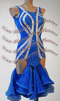 L1145 Ballroom Rhythm salsa Latin samba swing dance dress UK 6 blue