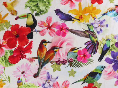 0,5 M Linen Fabric Jungle, Parrots Toucan Tropical Bird Digital Printing