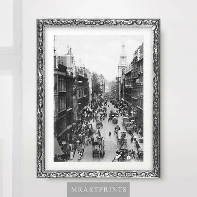 VINTAGE LONDON PHOTOGRAPH ART PRINT Poster City Street Wall Picture 1910 1920