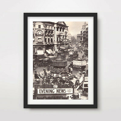 ANTIQUE LONDON PICCADILLY CIRCUS ART PRINT Poster Photograph 1920s 1930s Old !!!