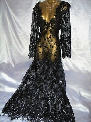 Stunning  vtg sheer   black lace nightie dress slip negligee  42 chst 62 long