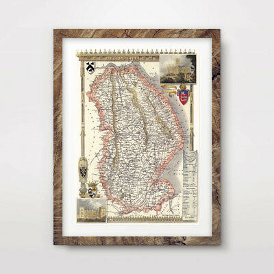 LINCOLNSHIRE VINTAGE MAP ART PRINT Poster Antique County A4 A3 A2 Picture Wall