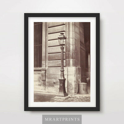 BLACK WHITE MISTY PATH VINTAGE LAMPPOST PHOTOGRAPHY ART PRINT Poster Picture