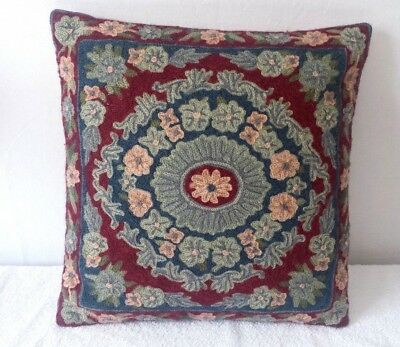 Vintage Handcrafted Crewel Embroidery 16 inch Square Zippered Pillow with insert