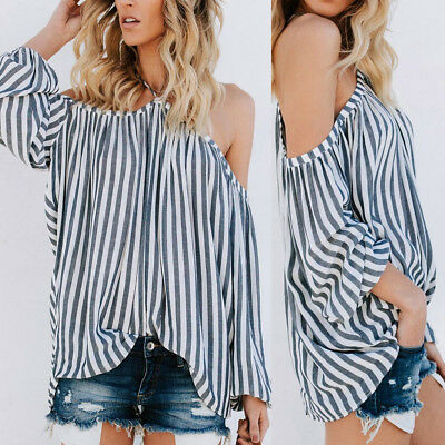 Sexy Womens Loose Striped Printed Cold Shoulder Strapless T-shirt Blouse Tops
