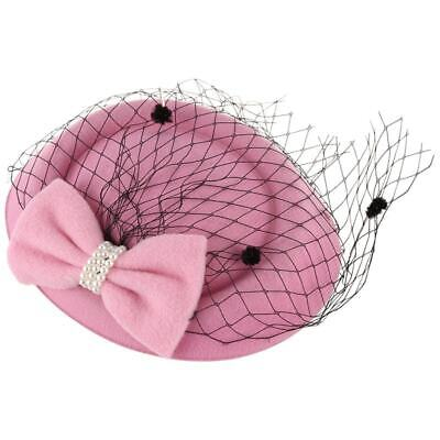 Women's Fascinators Hat Pillbox Hat Cocktail Party Hat with Dot Veil Bowkno S3Y3