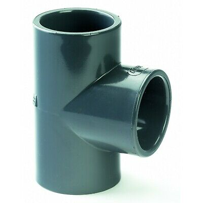 PVC Equal Tee Grey Metric Solvent Weld. WRAS Approved. 20mm to 110mm