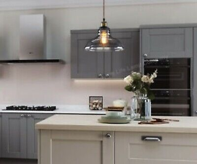 Pendant Ceiling Light Vintage Smoked Grey Glass Shade Chandelier Home Pub Diner