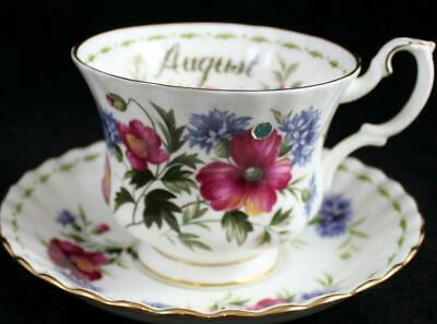 Royal Albert FLOWER OF THE MONTH (Montrose) Cup & Saucer August GREAT CONDITION
