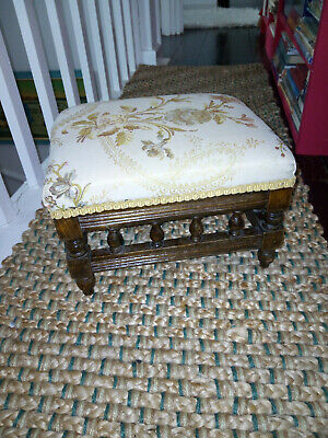 Antique Victorian Galleried Footstool