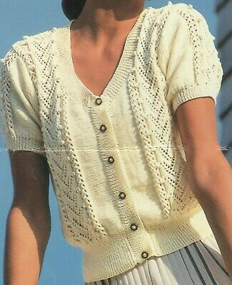 """#293 LADY/'S DK CABLE CARDIGAN 34-44/"""" VINTAGE KNITTING PATTERN"""