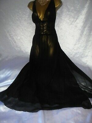 Stunning   sheer nightie slip negligee 46 chest  black cd/tv 38 chest