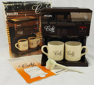 Vintage Philips Cafe Duo Coffee Maker Machine For 2, Boxed With Accessories.