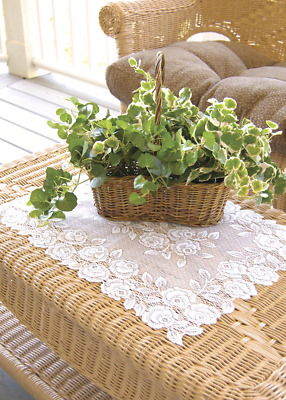 """Heritage Lace White TEA ROSE Placemat 14""""x20"""""""