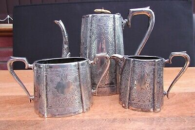 Reduced Antique Silver Plated Three Piece Tea Set  J H Potter Sheffield Rd462194