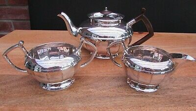 Reduced 1920'S Walker & Hall Art Deco Silver Plated Tea Set 3 Piece Sheffield