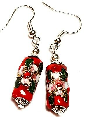 Short Red Chinese Cloisonne Bead Earrings Antique Vintage Style Pierced