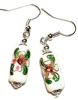 Short White Chinese Cloisonne Bead Earrings Antique Vintage Style Pierced
