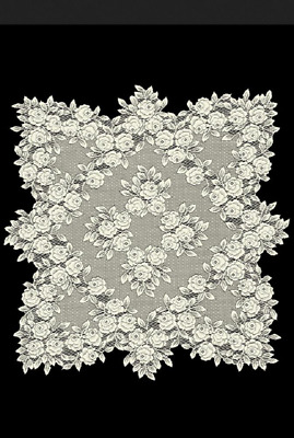 "Heritage Lace ECRU ""Tea Rose"" 30"" x 30"" Table Topper"
