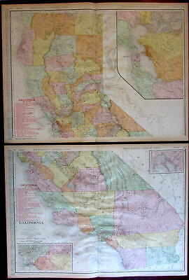 California Railroads 1908 huge detailed Rand McNally 2-sheet state map