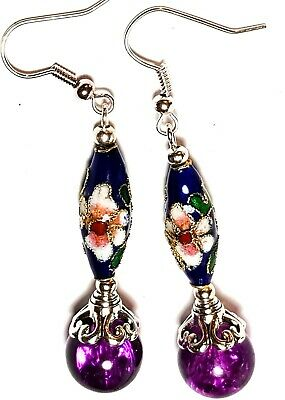 Long Purple Blue Earrings Chinese Cloisonne Bead Antique Vintage Style Pierced