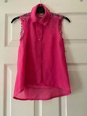 Girls Blouse By Miss Elvie 2piece Girls Pink Cami & Blouse Set Age 9yrs