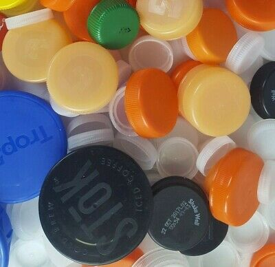 Lot 400 Plastic Bottle Caps Recycled Clean Crafting Mixed Repurpose Lids Tops