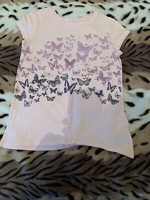 Girls T-shirt By Gap Pink Butterfly Motif Age 10 Yrs